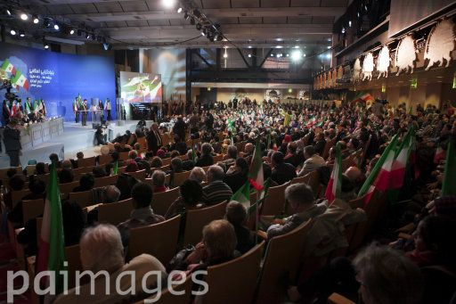 The audience listens to a speech during a conference on islamic fondamentalism and the role of Iran held in Paris, capital of France, on February 7, 2015, for the 36th anniversary of the Islamic revolution in Iran.