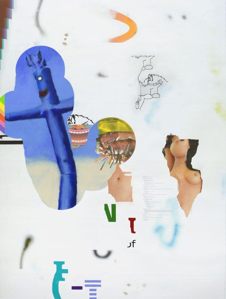 Dustin Pevey lkdsjhben 2015 Graphite, spray paint, vinyl, acrylic, inkjet on canvas 162.6 x 121.9 cm