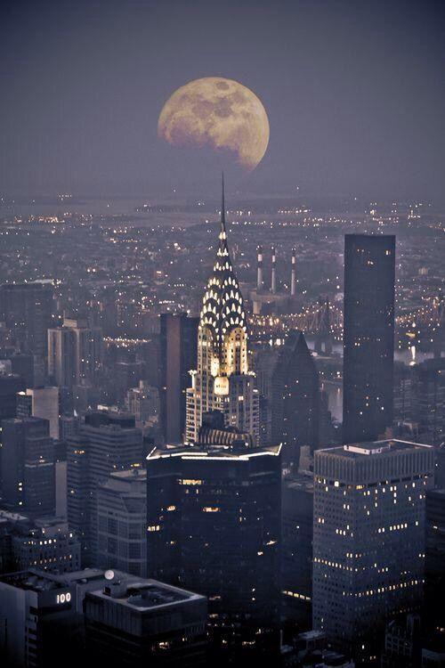 NY with the moon.