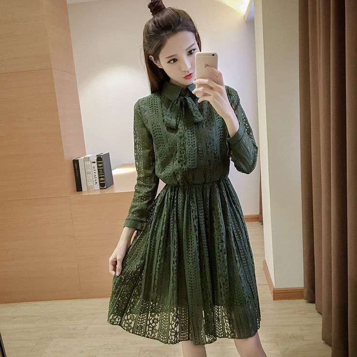 >> Click to Buy << New Europe 2017 Spring Summer Women's Lace Hollow Out Long Sleeve Dresses Femme Casual Slim Clothing Sexy Party Long Dresses #Affiliate