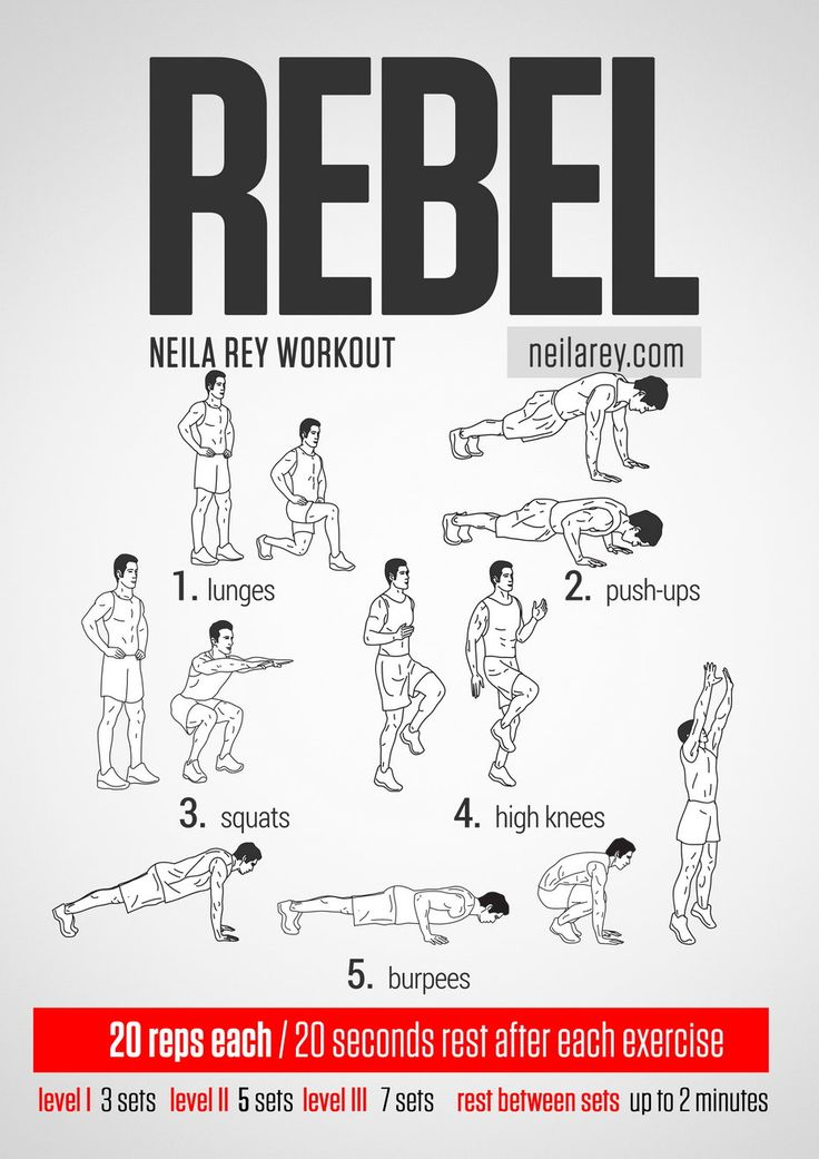 Rebel Workout / works: quads, shoulders, chest, triceps, biceps, abs, deltoids, lower abs