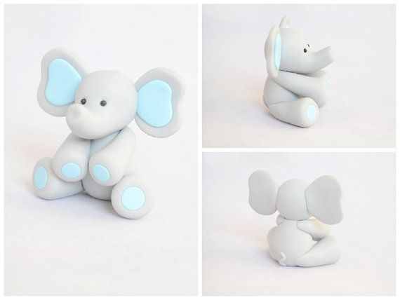 Cute Baby Elephant Cake Topper / Baby Shower Elephant by Linnypigs