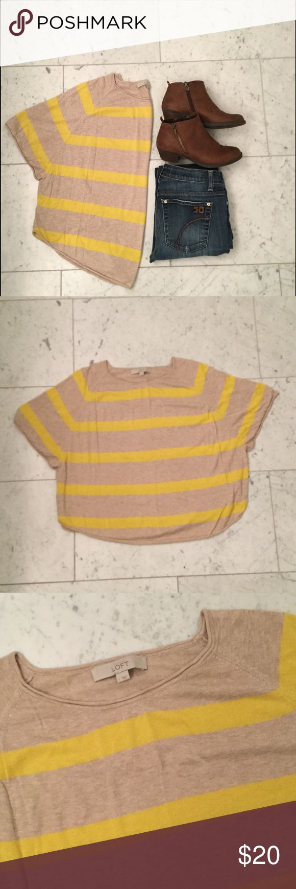 """✨SALE✨ LOFT Yellow & Tan Striped Short Sleeve Top A great light sweater material with short sleeves for a poncho style. Well loved, but in great condition. Size large but fits like a small/medium. 21"""" length (collar to hem on front). LOFT Sweaters Shrugs & Ponchos"""