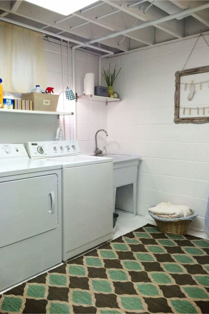 Laundry Nook Ideas - Basement Laundry Rooms - Basement Laundry Area - DIY Basement Laundry Nook