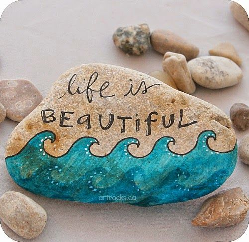 Life is Beautiful greek- inspired stone. Artrocks.ca by Karen Fuhr