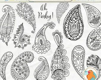 Paisley Clipart, Colorful Bohemian Clip Art, Hand Drawn Paisley, Decorative Graphic Design Element, Commercial Use, Printable, Card Making – Liela