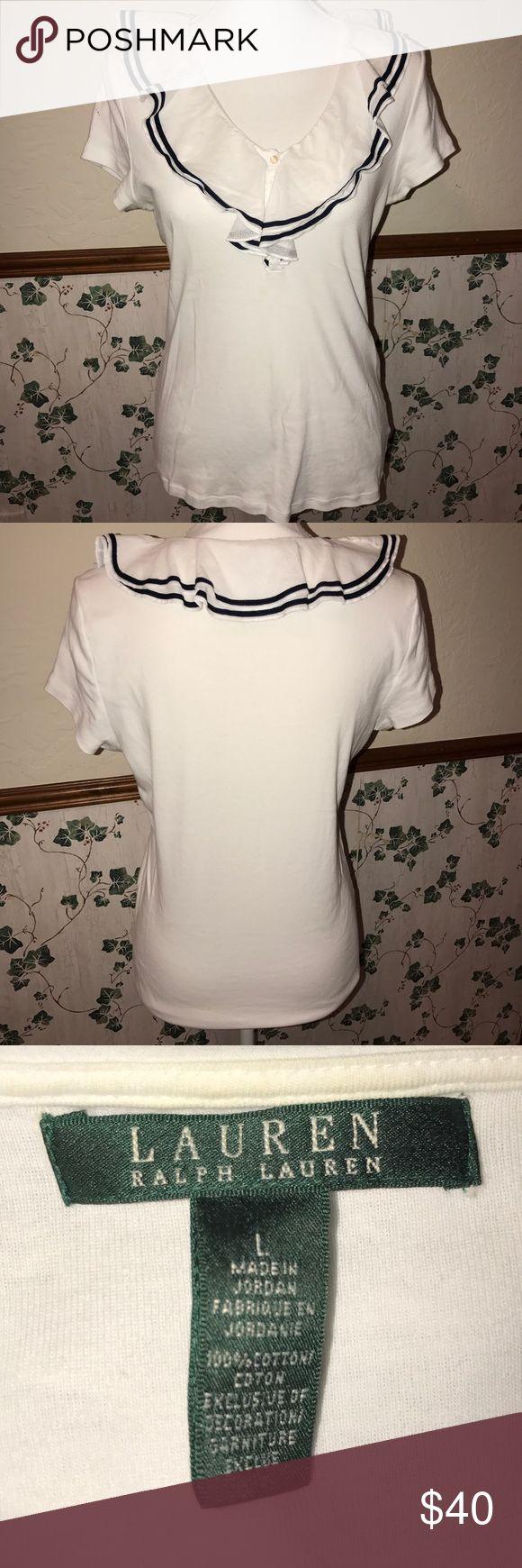 Ralph Lauren women's shirt White Ralph Lauren shirt. 100% cotton, machine wash cold. Size L NO TRADES! #6 Ralph Lauren Tops Tees - Short Sleeve