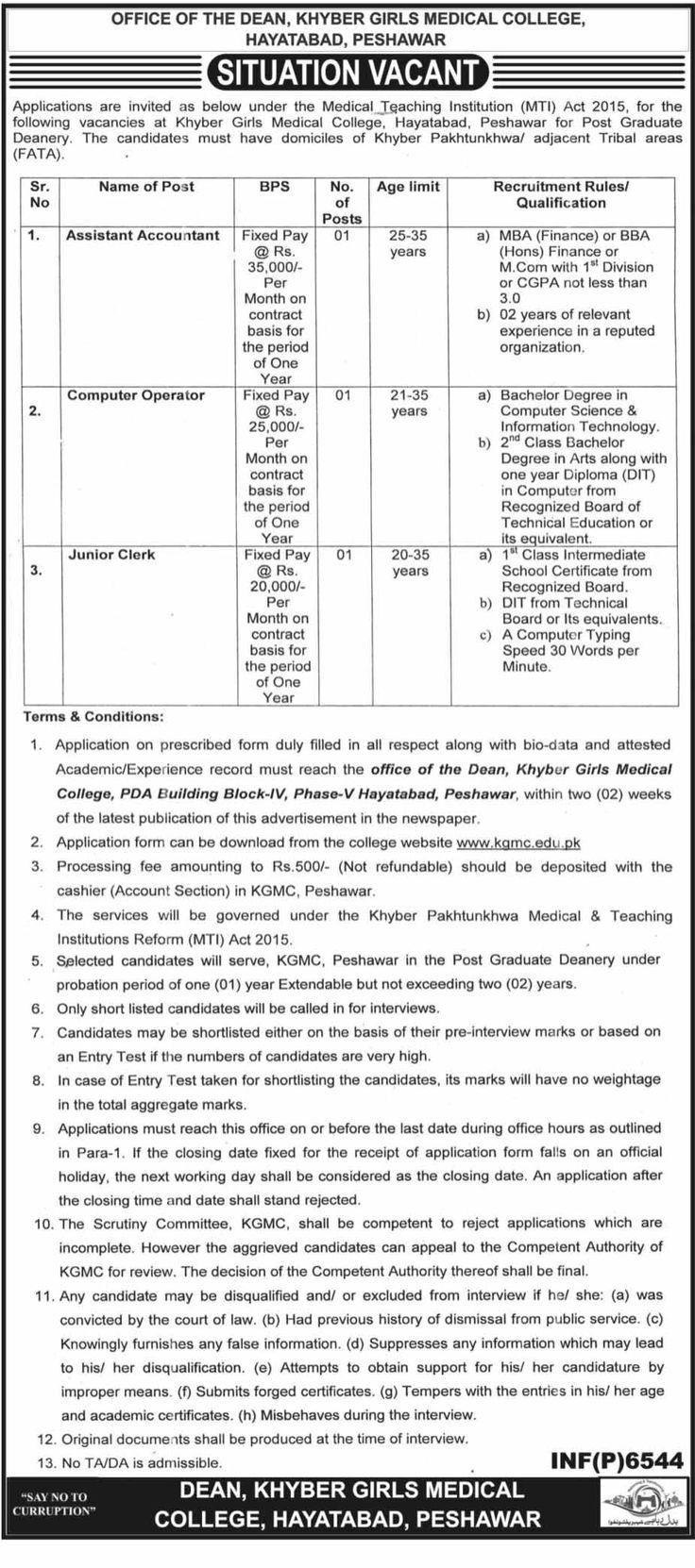 Khyber Girls Medical College Jobs 2017 In Peshawar For Junior Clerk And Computer Operator http://www.jobsfanda.com/khyber-girls-medical-college-jobs-2017-peshawar-junior-clerk-computer-operator/