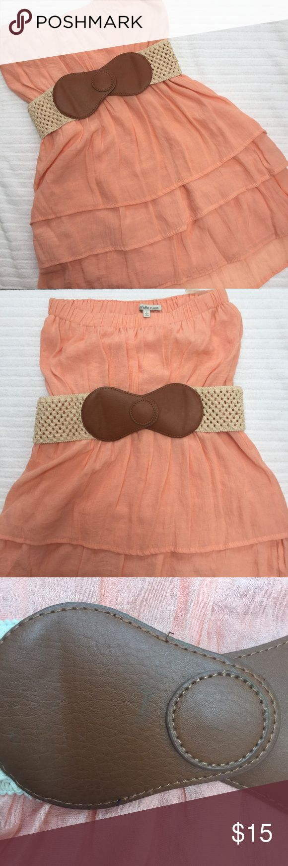 Strapless Ruffled Charlotte Russe Dress Lovely and light peach strapless dress from Charlotte Russe. Lightly worn, impeccable condition! Small sign of wear on the belt, shown in the third picture.   💕💕Closet details💕💕 Completely posh compliant closet! 🎀 no trades 🎀 no holds 🎀 offers only through offer button 🎀 very negotiable! I'm more likely to make you a better deal without the bundle feature! So talk to me and let's see what we can do! 🎀 Happy poshing! 🎀💕 Charlotte Russe…