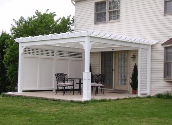 Image Detail For 14 X 14 White Vinyl Pergola Superior Post Privacy Wall And Lattice Pergolaideas Vinyl Pergola Pergola Patio Patio Wall