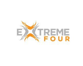 Xtremefour Logo design - An awesome brand mark featuring a simple box fire frame that could easily fit to  a sport company, fitness club or mud run team. Along with the logo you will receive:- domain name included paid in advance for 5 years.- logo tagline- Corporate identity book design with all the stationery items and logo usage guidelines - up to 8 pages.- A full stationery design- 8 page A5 booklet brochure designAll items are to be customized ...