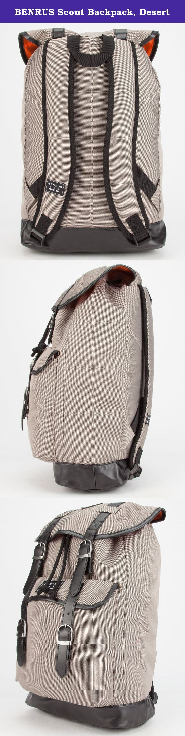 """BENRUS Scout Backpack, Desert. Benrus Scout rucksack style backpack. Drawstring main compartment with magnetic snap closure top flap. Interior hanging zip pocket. Magnetic snap flap pocket on front with decorative buckles. Faux leather detailing. Looped straps. Top handle loop. Padded back panel and shoulder straps. Fully lined. 600D Polyester. Approx dimensions: 18"""" x 12"""" x 6""""(46cm x 30cm x 15cm). Imported."""