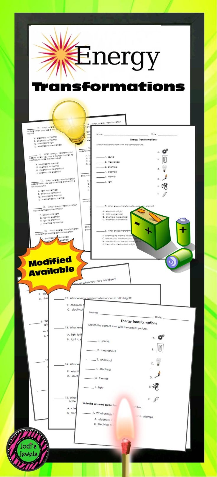 Forms Of Energy Worksheet With Answers Keys Seventh Grade ...