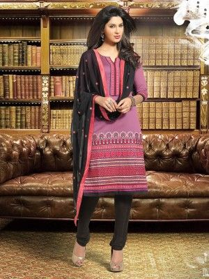 Pink Black Banarasi Chanderi Classy Casual Salwar KameezEid casual salwar kameez  at parisworld.in