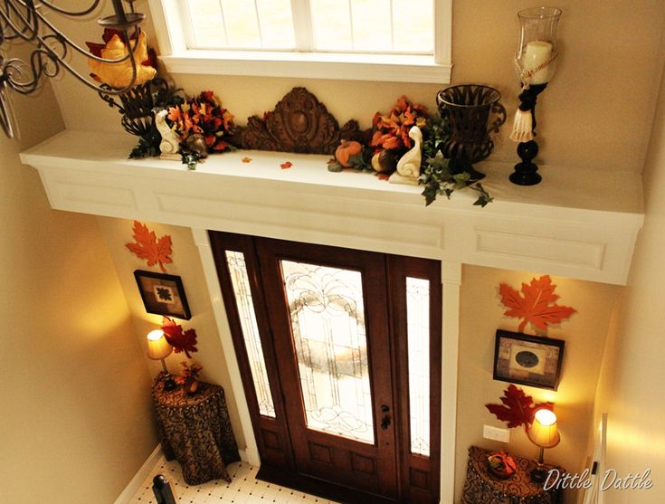 Open Foyer Quiz : Fall foyer decorating ledge autumn display b