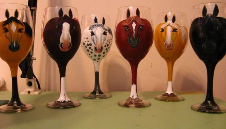 "Own a ""stable"" of your favorite breeds with these  hand painted wine glasses. Can also create custom glasses to match your horse's colour and markings! Makes a great gift for any occasion!"
