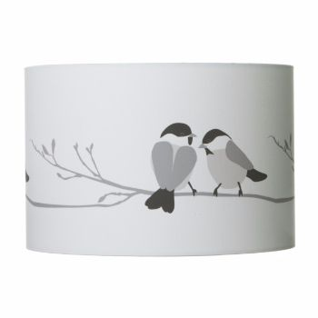 Lorna Syson Grey Willow Tit Lampshade 40 x 25 cm: A delightful accessory to any home; the willow tit lampshade brings nature indoors with a touch of nostalgic charm.