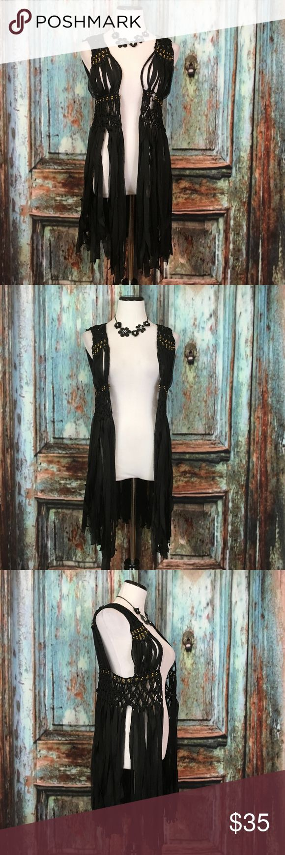 """Boho Hippie Goth Black Gold Fringe Cardigan Vest Woman's Size XS/S, gently used with minimal wear. Please see photos for exact details.   Armpit to armpit -18""""  Length -34""""  Please Note: The necklace in pictures is not for sell. Chelsea & Violet Jackets & Coats Vests"""