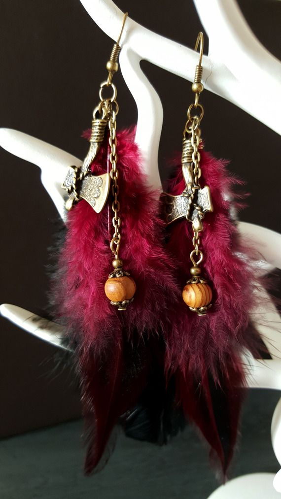 Boucles d'oreilles Axe, Wood & Feathers - inspiration indienne