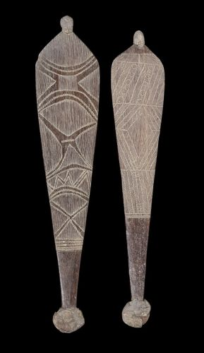 Spear throwers WESTERN AUSTRALIA carved wood LENGTHS: 72CM AND 68.5CM