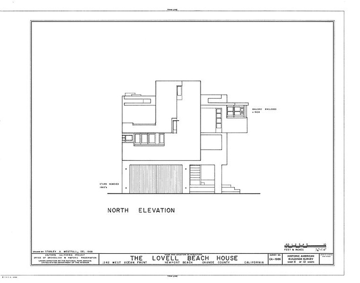 North N Home Plan And Elevation : Rudolph m schindler lovell beach house north