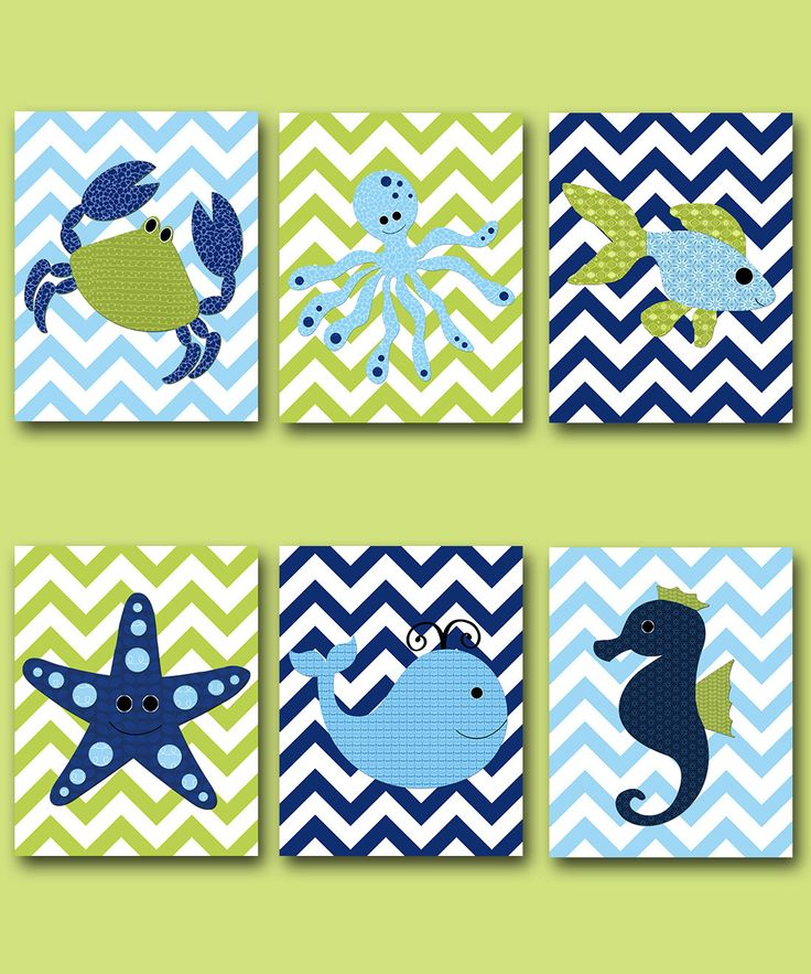 Fish Crab Baby Boy Nursery Art Nursery wall art baby nursery kids room decor Kids Art Boy Print set of 6 whale nursery blue green navy childrens room decor playroom wall art  To return to my shop, click here: http://www.etsy.com/shop/artbynataera  *** UNFRAMED - THIS PRINT IS ON PAPER OR ON CANVAS *** 1119 1120 1121 1122 1123 1124  Set of 6 print in inches . Theres an extra 1/8 in. white border around the print to ease framing.IMPORTANT: This is a print made on matte photo paper that will…