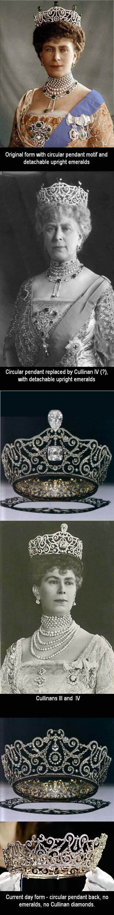 "The Delhi Durbar Tiara - by Garrards, for Queen Mary for the Delhi Durbar on December 12,1911. Durbar is Hindi, for a 'ceremonial gathering to pay homage'. The gathering was to install King George V and Queen Mary as Emperor and Empress of India. King George V admired this piece and referred to it as ""May's best tiara"". It has been worn in a variety of  ways as shown here."