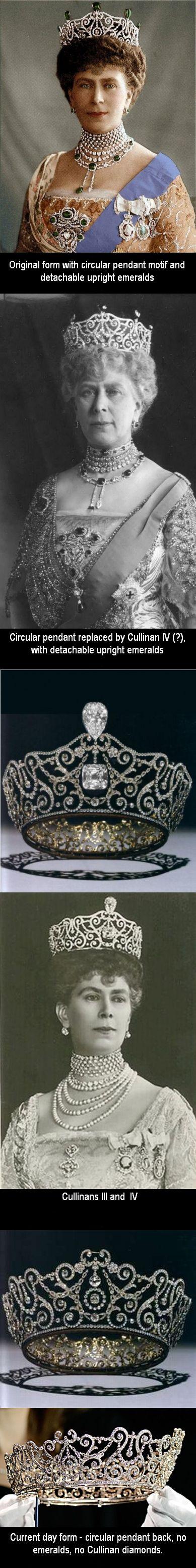 La tiara Delhi Durbar, utilizada sola o con las otras piezas del conjunto por la reina Mary en diferentes ocasiones a lo largo de su vida.
