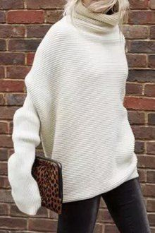 Solid Color Thicken Heaps Collar Sweater