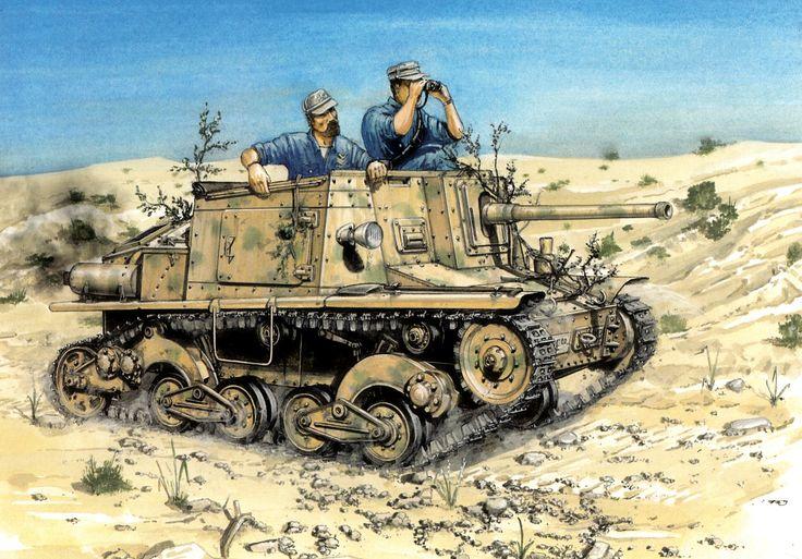 1944 Tanque italiano Semovente L40 Túnez