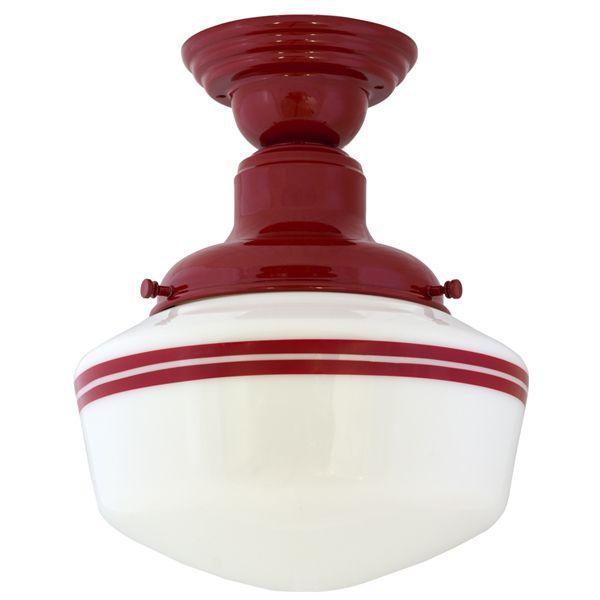 schoolhouse lighting in black and white | Intermediate Schoolhouse Semi-Flush Mount Light, Small Shade, 400-Red ...