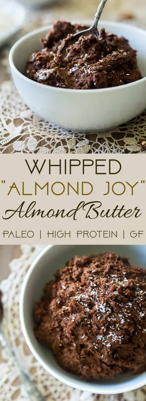 Chocolate Coconut Whipped Homemade Almond Butter - loaded with chocolate, coconut and protein powder, and then whipped to airy, light perfection! Easy, Paleo-friendly and SO addicting! | Foodfaithfitness.com | @FoodFaithFit | Healthy homemade almond butter. almond butter recipe. paleo homemade almond butter. best homemade almond butter. via @FoodFaithFit