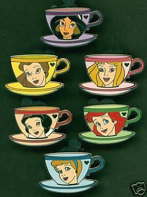 princess tea cup pins and hidden mickeys