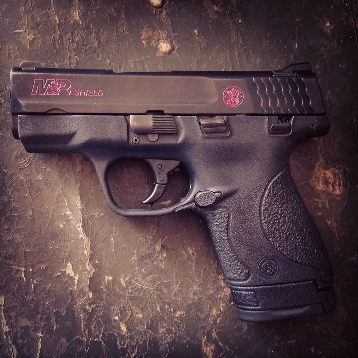 Love my Smith & Wesson Shield! Custom hot pink stamping thanks to my hubby! <3