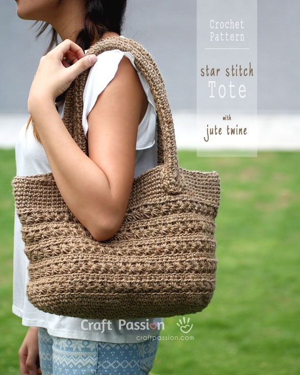Crochet pattern of star stitch tote by using jute twine. Picture tutorial and video link available to make the instruction easy to understand & to follow. - Page 2 of 2