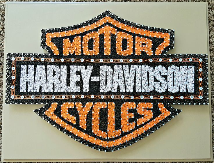 "16"" x 20"" Harley Davidson Motor Cycles string art"
