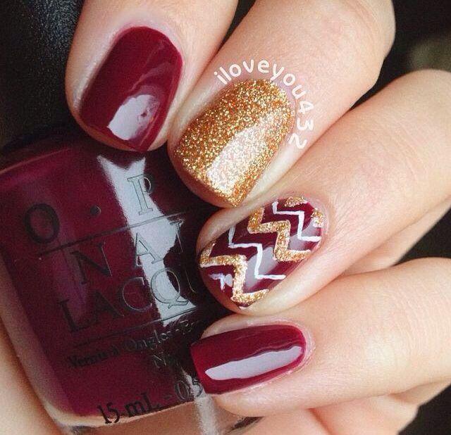 Maroon and gold nail art. Fsu!?