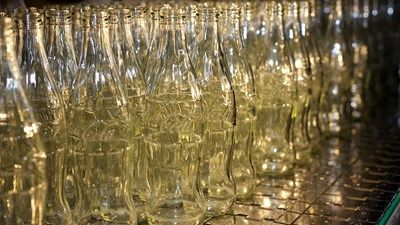 Coca-Cola glass bottles on the production line Edelstahl