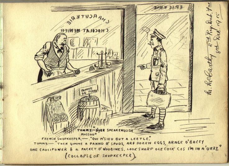 "Cartoon drawn by M McCarthy 2nd Royal Dublin Fusiliers on 8th Dec 1915 in Luther Paxton's (Green Howards) ""Efforts of my Friends"" notebook, whilst recouperating from wounds."