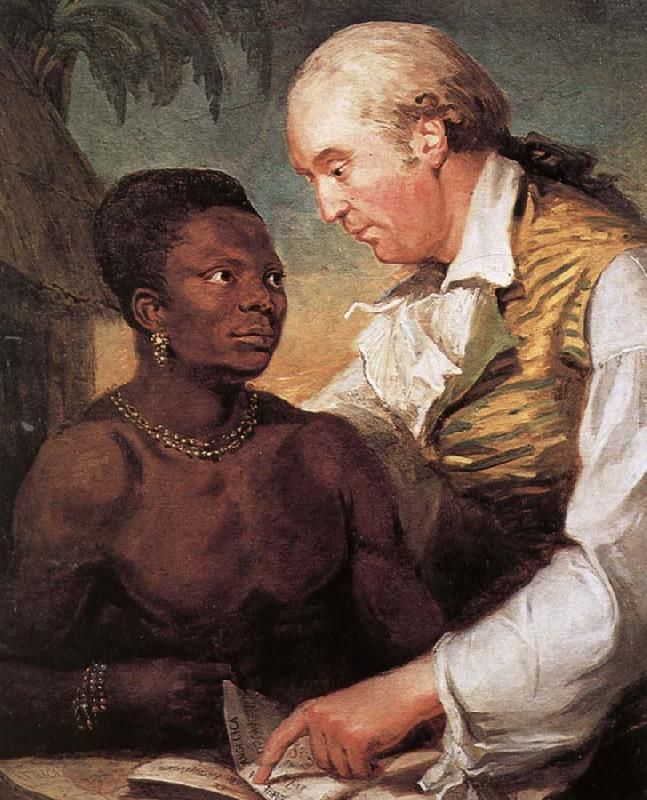 "Carl Wadström, a Swede, worked in the British and French abolition movements.He is shown with Peter Panah, son of the king of Mezurado, who had been sold to slavery in Sierra Leone. Wadström spotted him, bought his freedom, and brought him from England to attend school; sadly, Panah died of consumption in Wadström's home. CW published ""Observations on the Slave Trade,"" the now-iconic engraving of African bodies packed into a slave ship, and other images meant to change minds of Europeans."