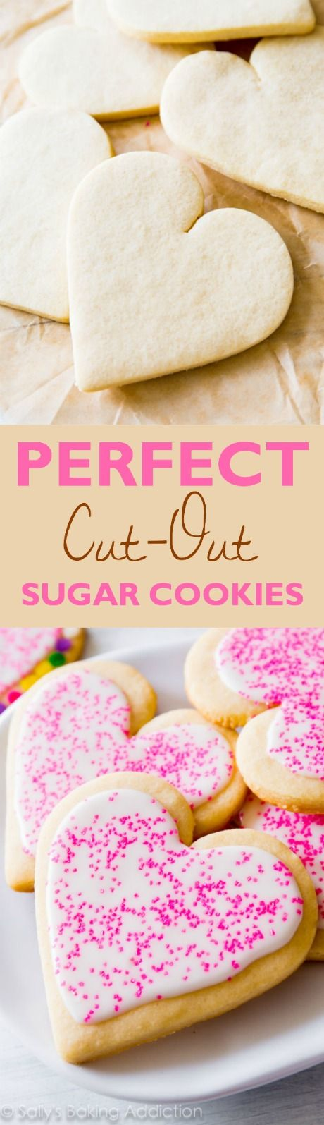 Super simple and straightforward sugar cookies! They taste incredible, hold their shape, and are easy to decorate! Found on sallysbakingaddiction.com