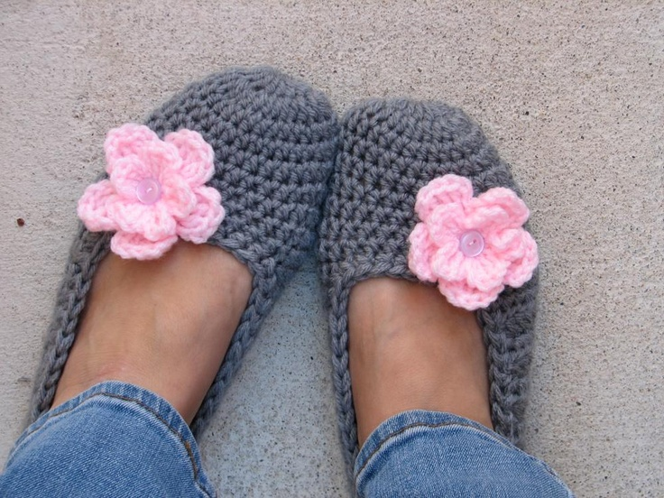 Adult Crochet Slippers - Grey with Pink Flower