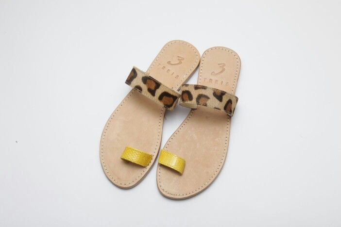 athina yellow (handmade leather sandal ) with pony skin www.treis.gr