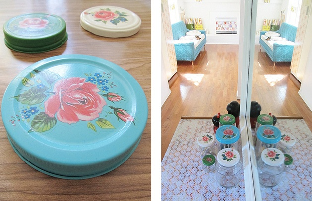 how to decorate glass jar lids