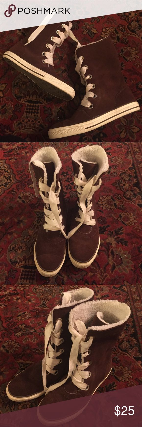 Tall leather brown converse boots NWOT. Tall genuine leather lace up Converse boots. Shearling inside. Converse Shoes Lace Up Boots