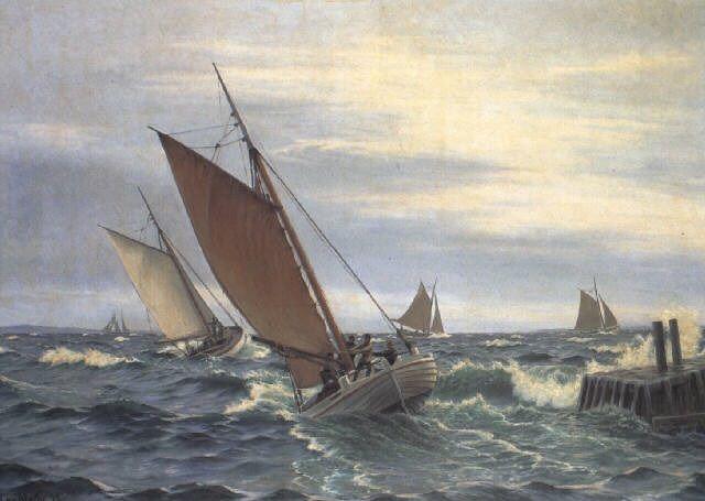 Marine med fiskerbåde ved molen - Maleri af Christian Blache - 1893