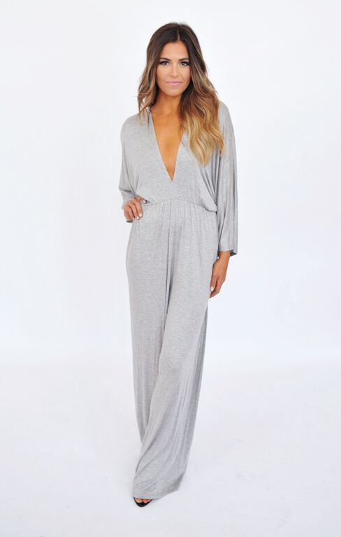 V Neck Jumpsuit- Grey - Dottie Couture Boutique