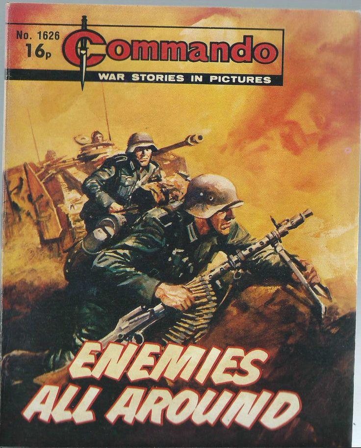 ENEMIES ALL AROUND,COMMANDO WAR STORIES IN PICTURES,NO.1626,WAR COMIC,1982