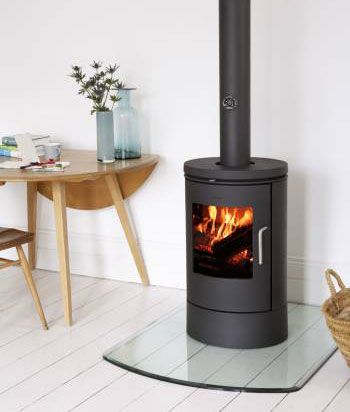 Minimalist and modern wood burning stove.