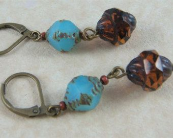 Rustic Casual Southwestern Style - Boho Picasso Glass Beaded Earrings - Turquoise Bicone/Amber Turbine Beads - Casual Everyday Jewelry